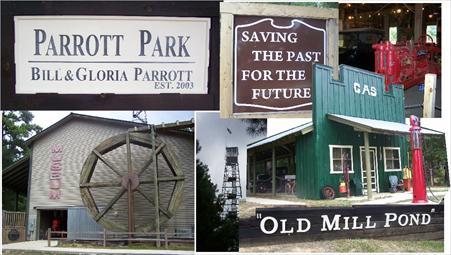 Photo collage of Parrot Park sign, Old Mill Pond gas station, Old Mill Pond Museum