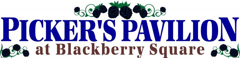 Picker's Pavilion at Blackberry Square banner with blackberries
